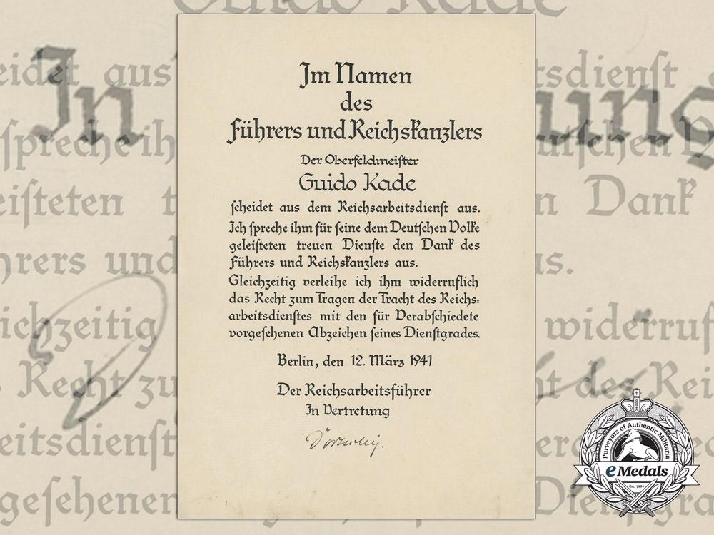 eMedals-A RAD Retirement Insignia Award Document 1941