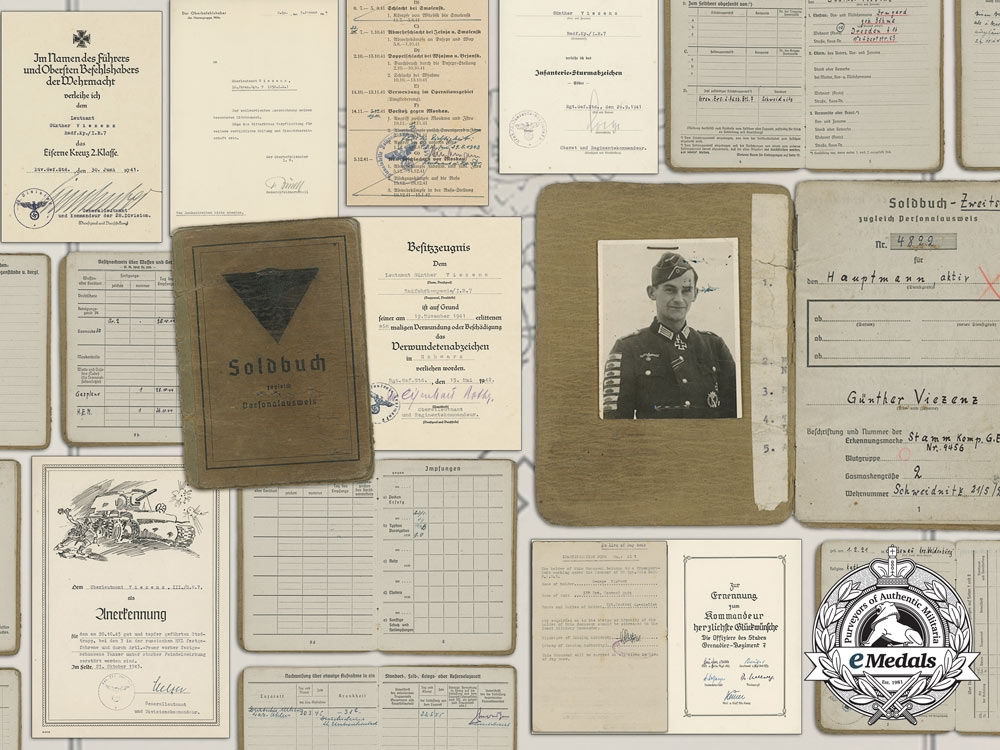 eMedals-The Soldbuch & Documents to Günther Viezenz; Record Holder of the Tank Destruction Badge who Destroyed 21 Enemy Tanks