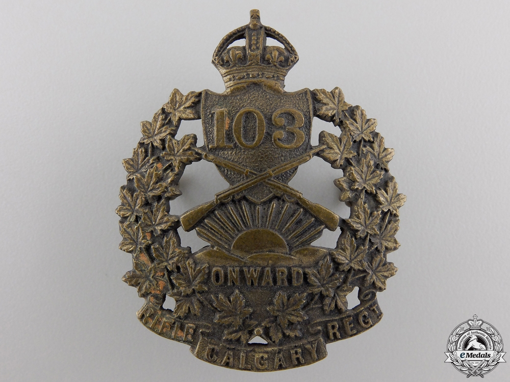 eMedals-A 103rd Calgary Rifle Regiment Cap Badge