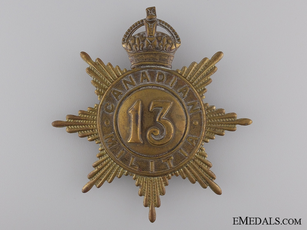 eMedals-A 13th Canadian Militia Helmet Plate; King's Crown