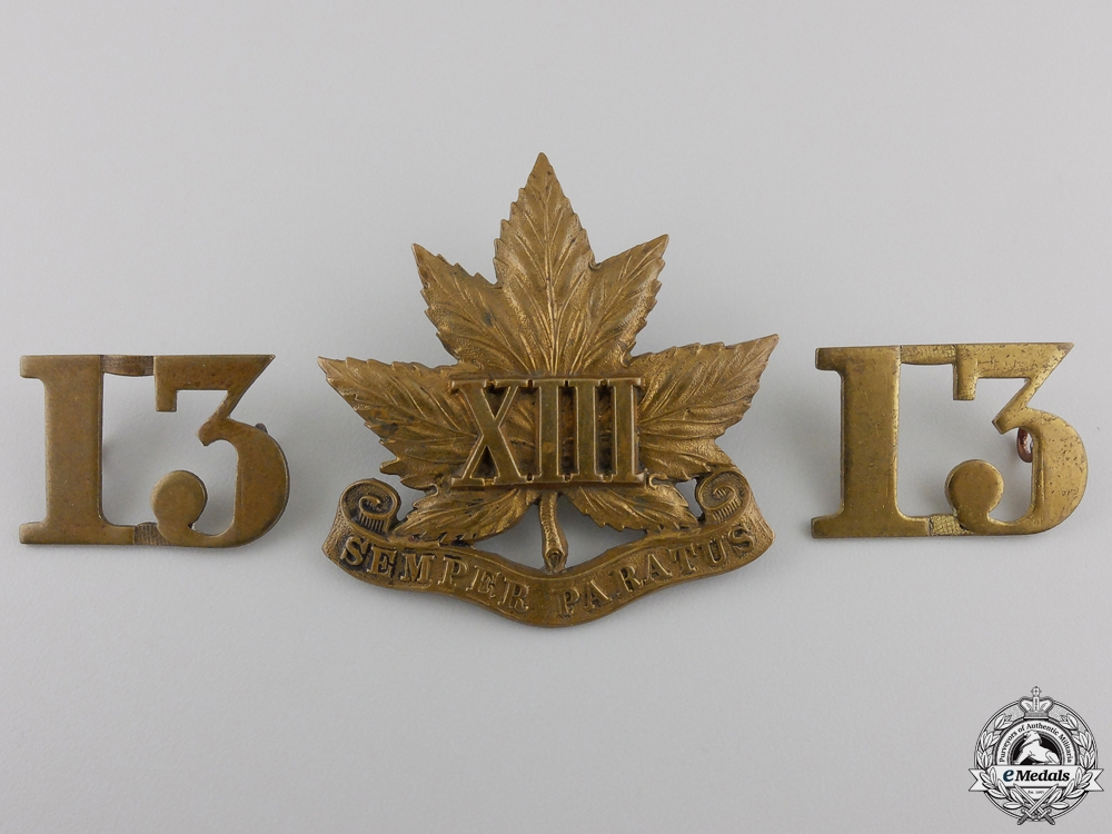 """eMedals-A 13th Canadian Militia """"Royal Regiment"""" Insignia Set"""