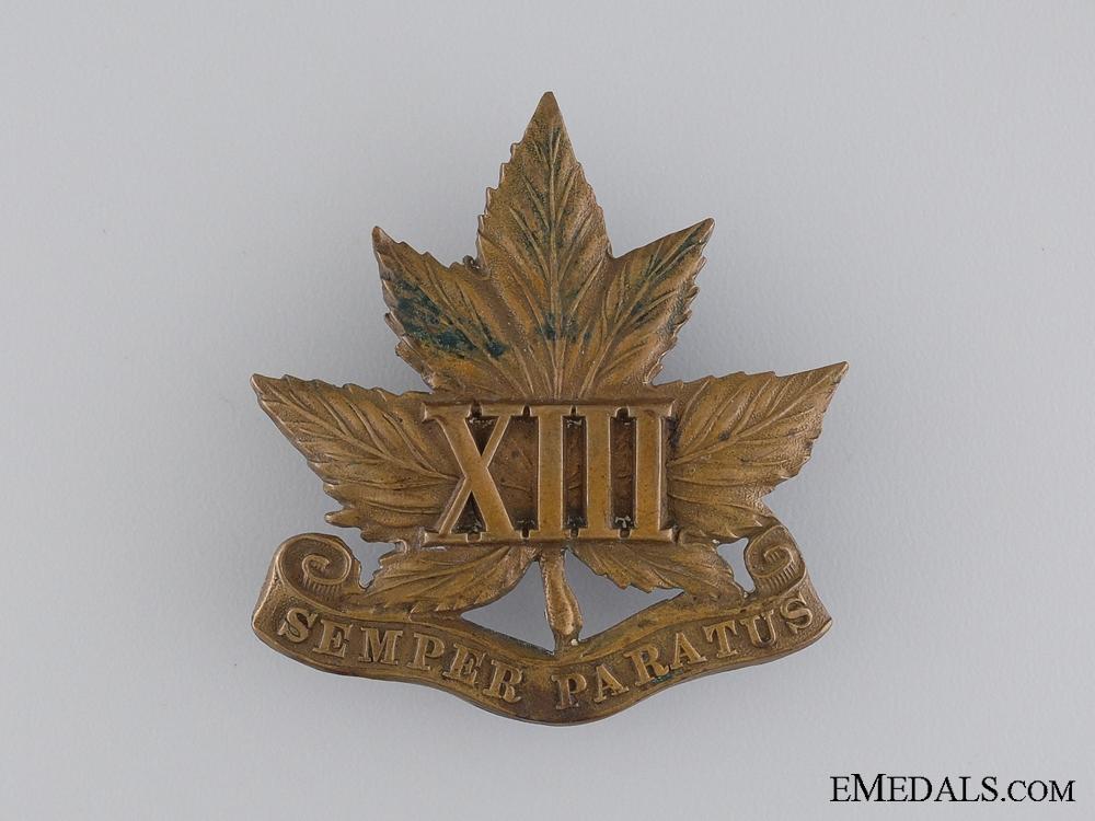 eMedals-A 13th Regiment Glengarry Cap Badge c.1909