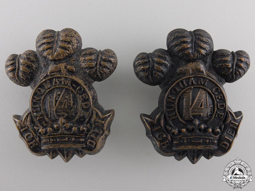 eMedals-A 14th Regiment Militia Princes of Wales' Own Regiment Collar Badge Pair