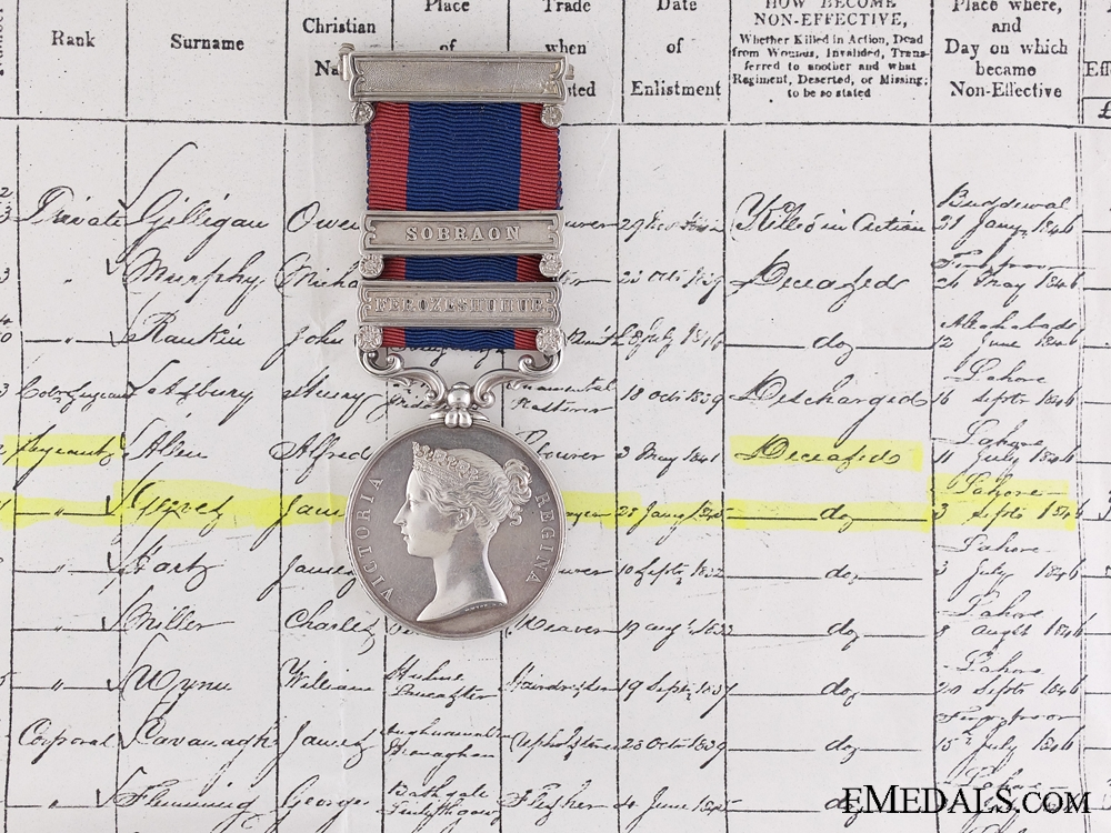 eMedals-A 1845-46 Sutlej Medal to the  80th Regiment of Foot; DOD