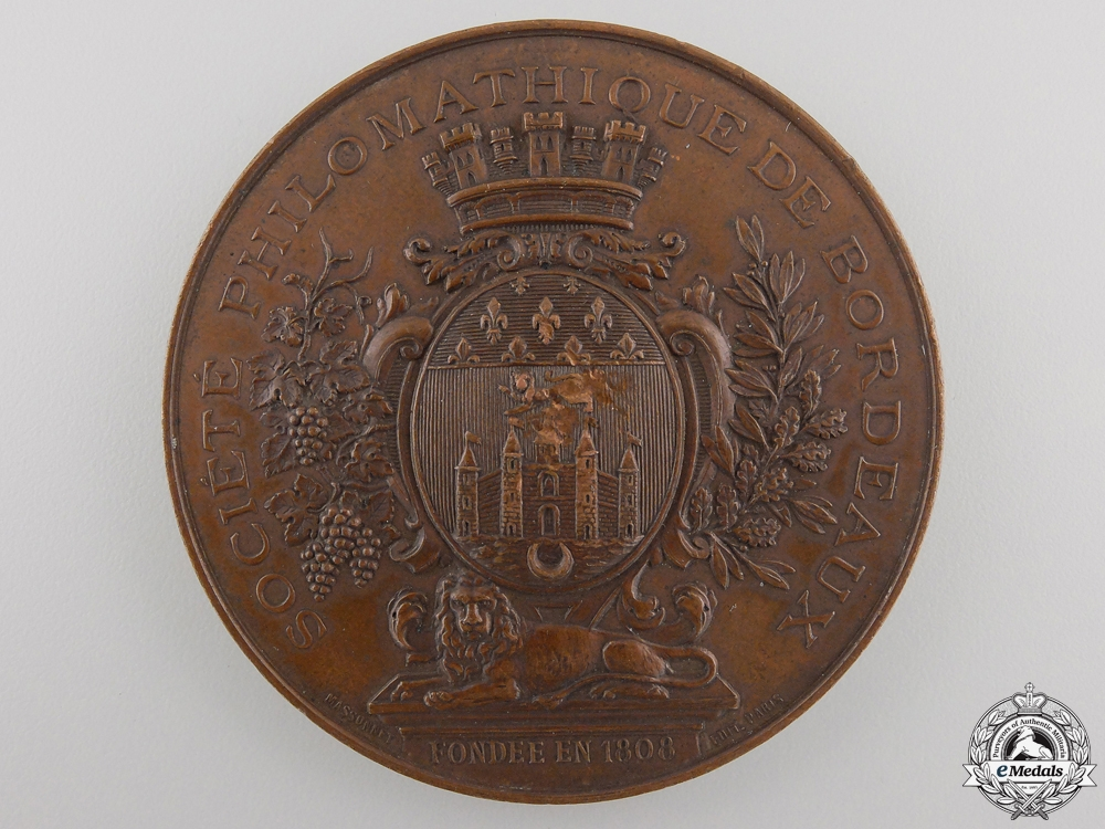 eMedals-A 1882 French Bordeaux Philomatic Society Table Medal Award