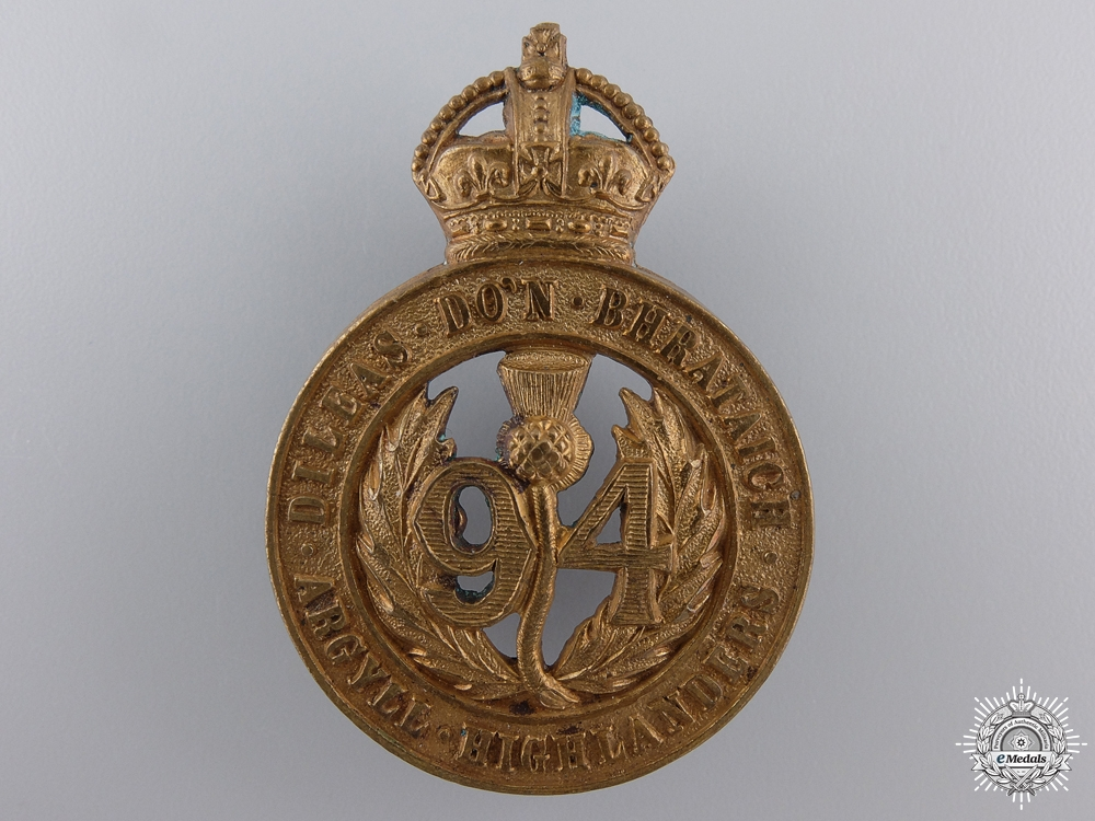 eMedals-A 1904 Argyll Highlanders Cap Badge