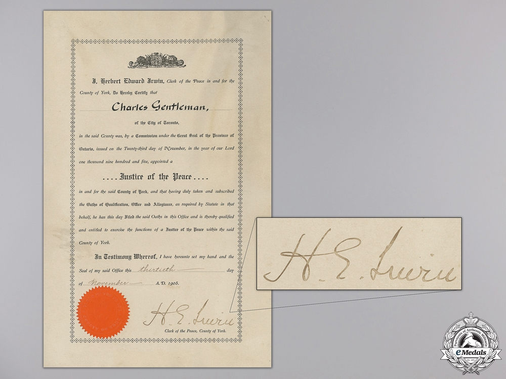 eMedals-A 1905 City of Toronto Justice of the Peace Commission Document