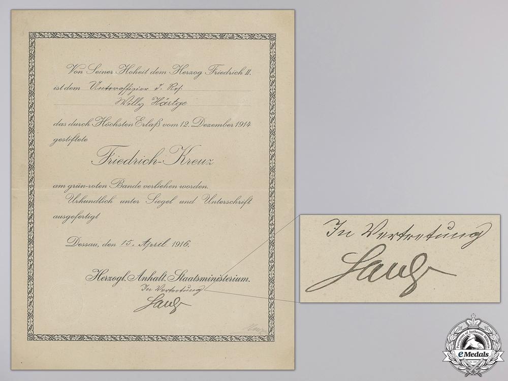 eMedals-A 1916 Anhalt Friedrich Cross Award Document