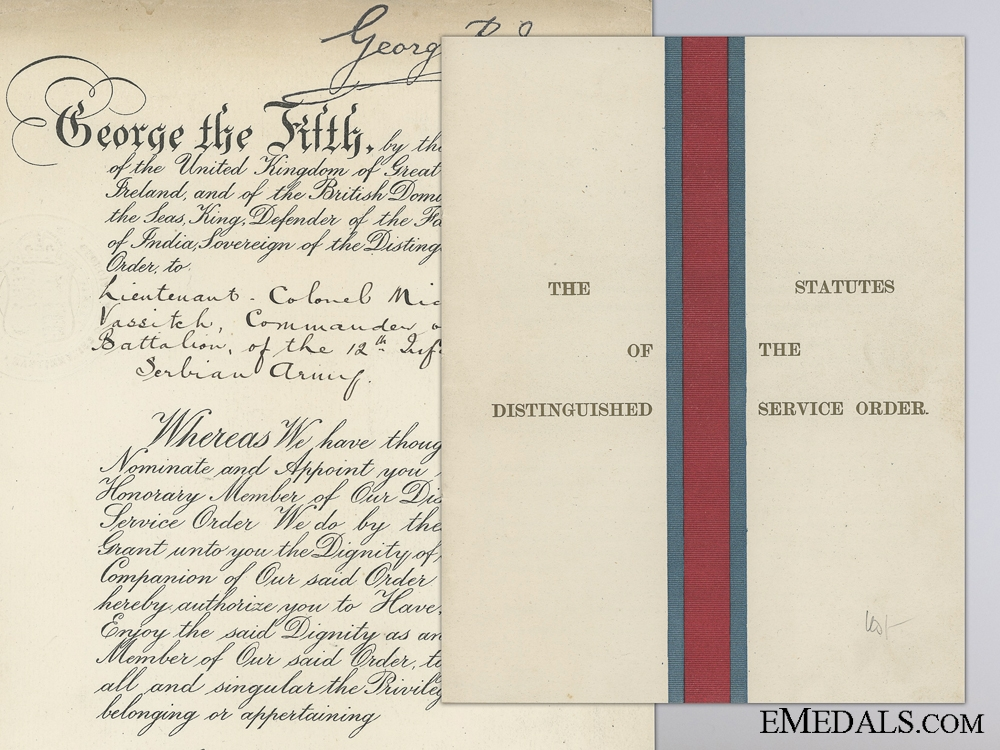 eMedals-A 1918 D.S.O. Award Document to Serbian Commander of 12th Infantry
