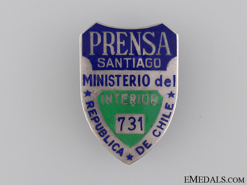 eMedals-Chile. An Interior Ministry Police ID Badge, c.1920