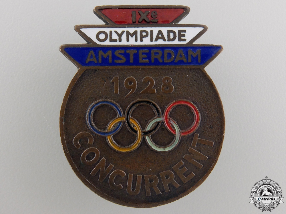 eMedals-A 1928 Amsterdam Olympic Games Competitor's Badge
