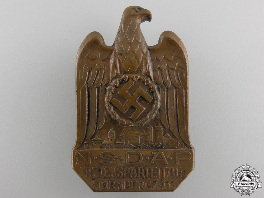 eMedals-A 1933 NSDAP Nuremberg Reich Party Day Badge