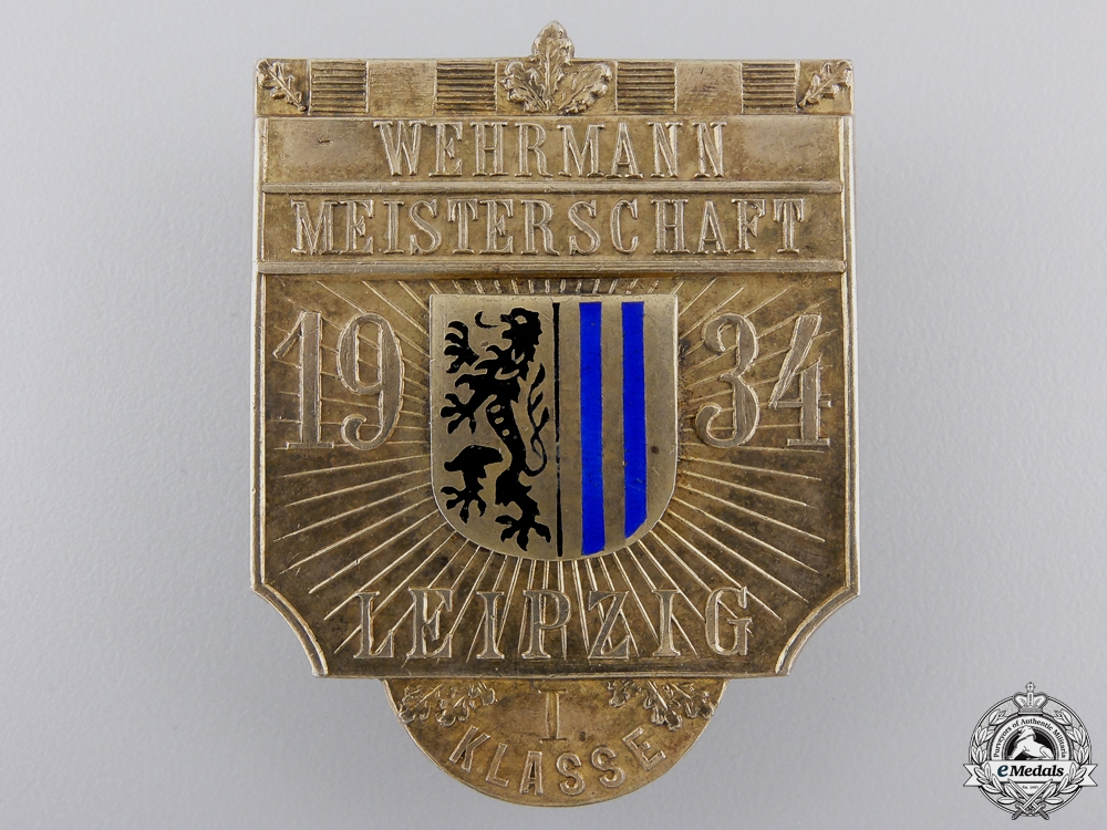 eMedals-A 1934 Leipzig Wehrmann Championship 1st Class Shooting Badge