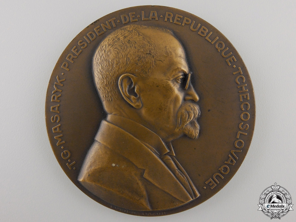eMedals-A 1935 President Masaryk Table Medal; Bronze