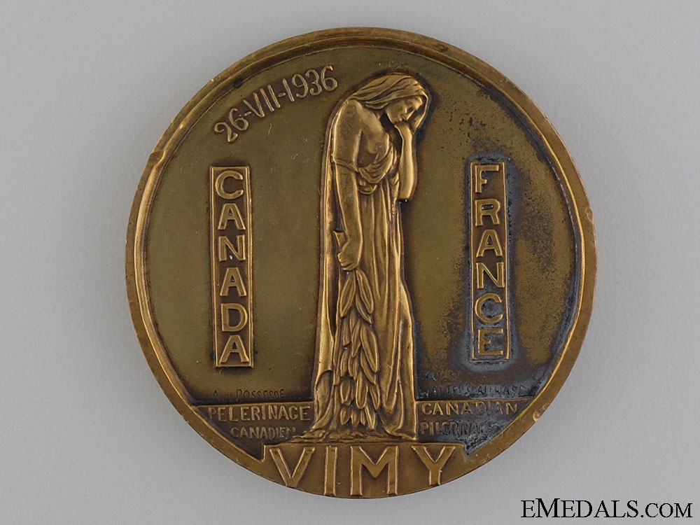 eMedals-A 1936 Canadian Vimy Memorial Pilgrimage Medal