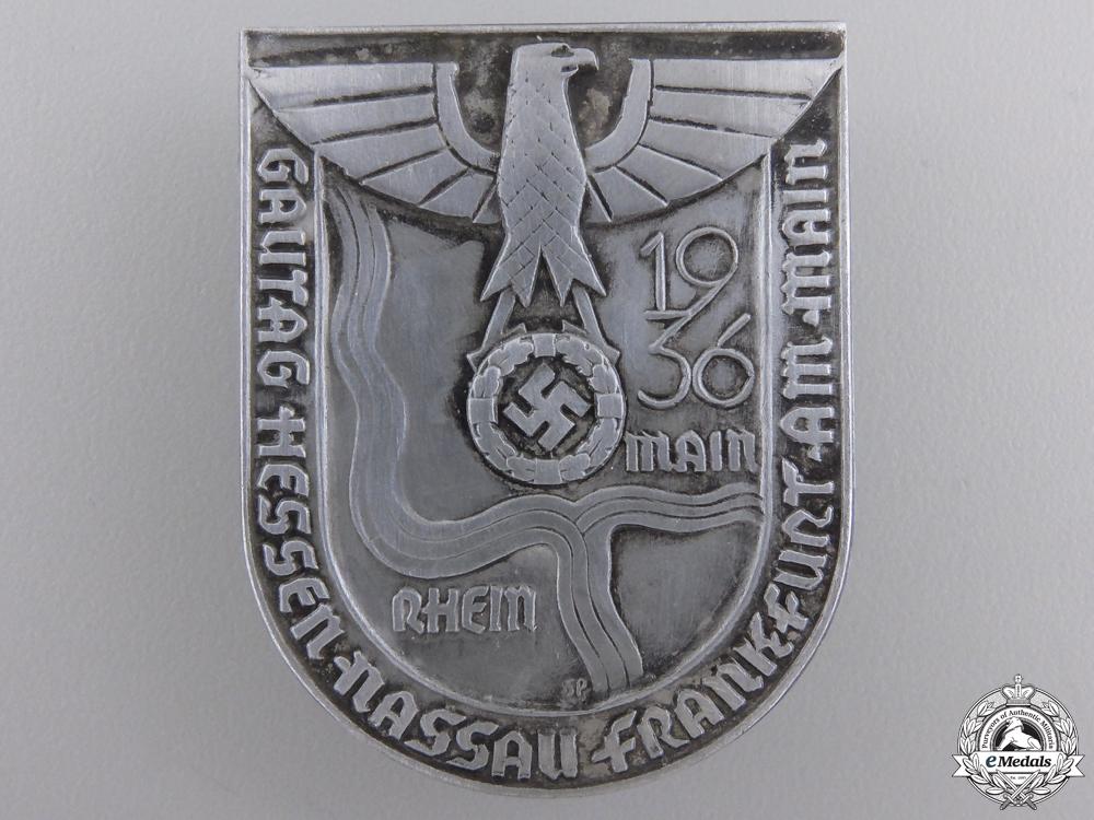 eMedals-A 1936 Frankfurt Gau Hesse-Nassau Meeting Day Tinnie