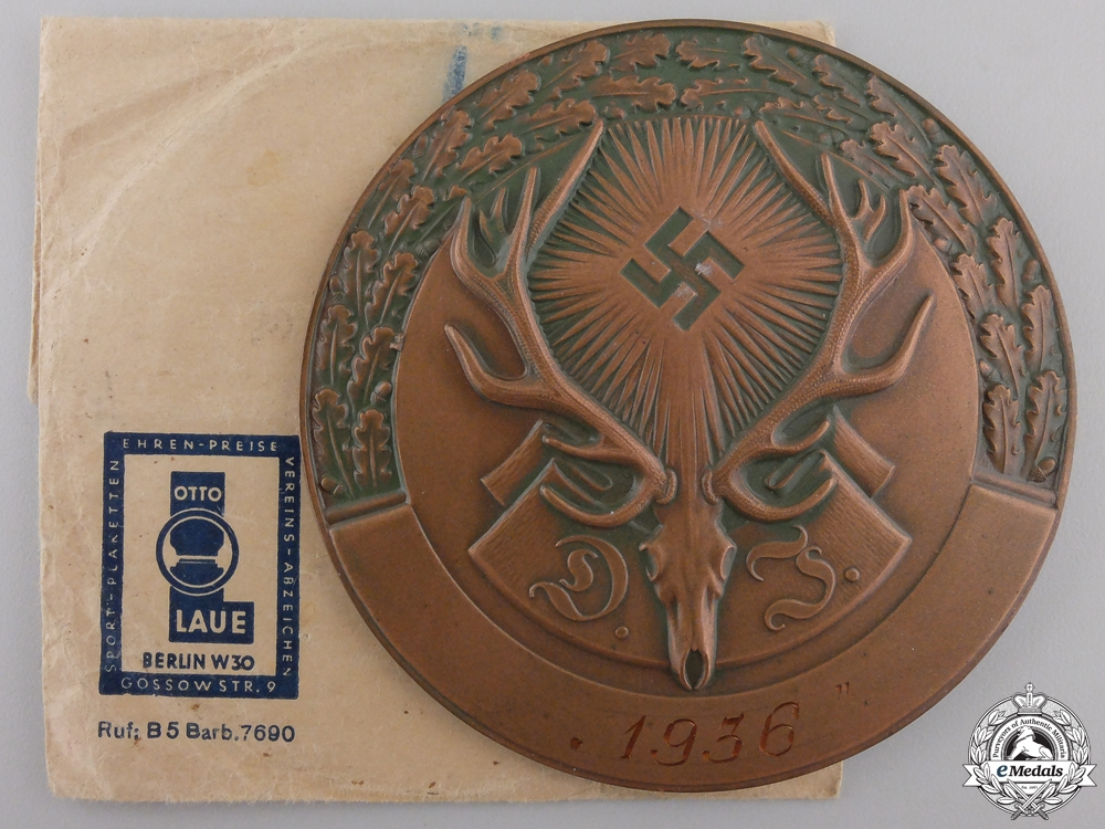 eMedals-A 1936 German Hunting Association Plaque
