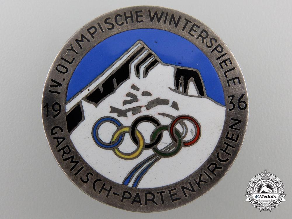 eMedals-A 1936 IV Winter Olympic Games Garmisch-Partenkirchen Badge