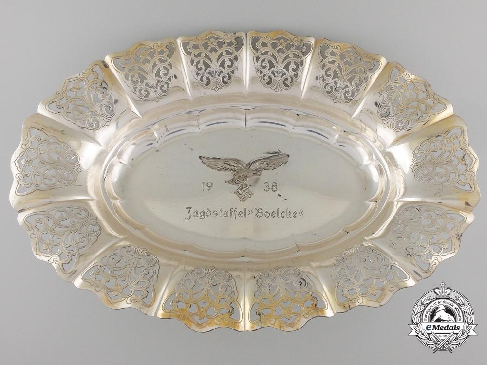 "eMedals-A 1938 Luftwaffe Jagdstaffel ""Boelcke"" Commemorative Silver Plate"