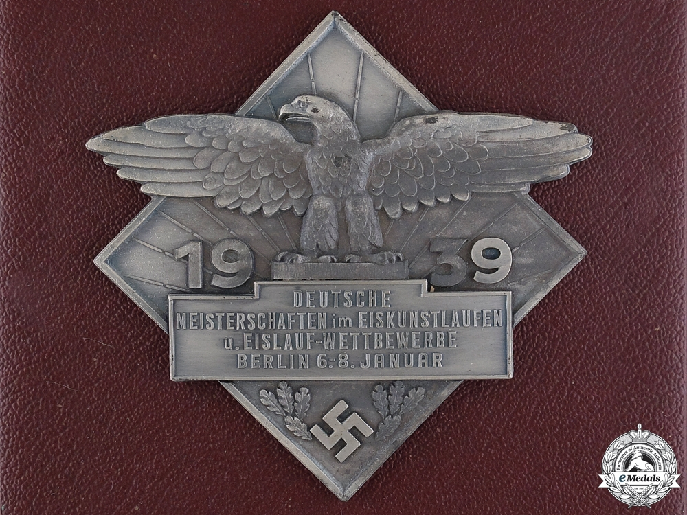 eMedals-A 1939 German Figure Skating Championships Award with Case