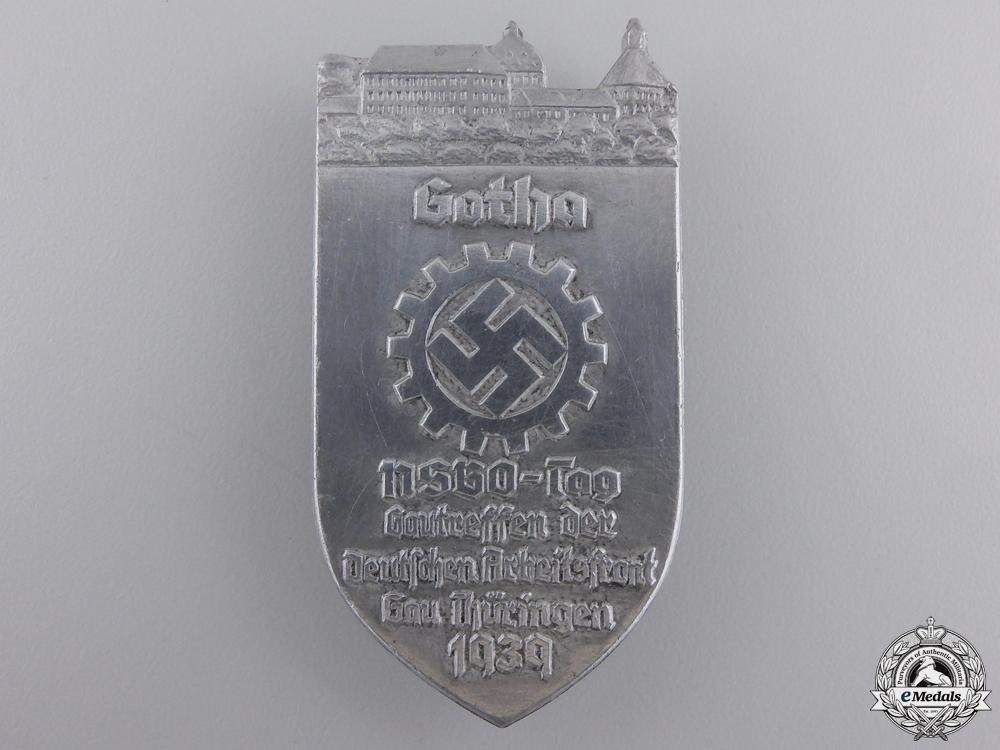 eMedals-A 1939 NSBO German Labour Front Gau Thüringen Meeting Tinnie