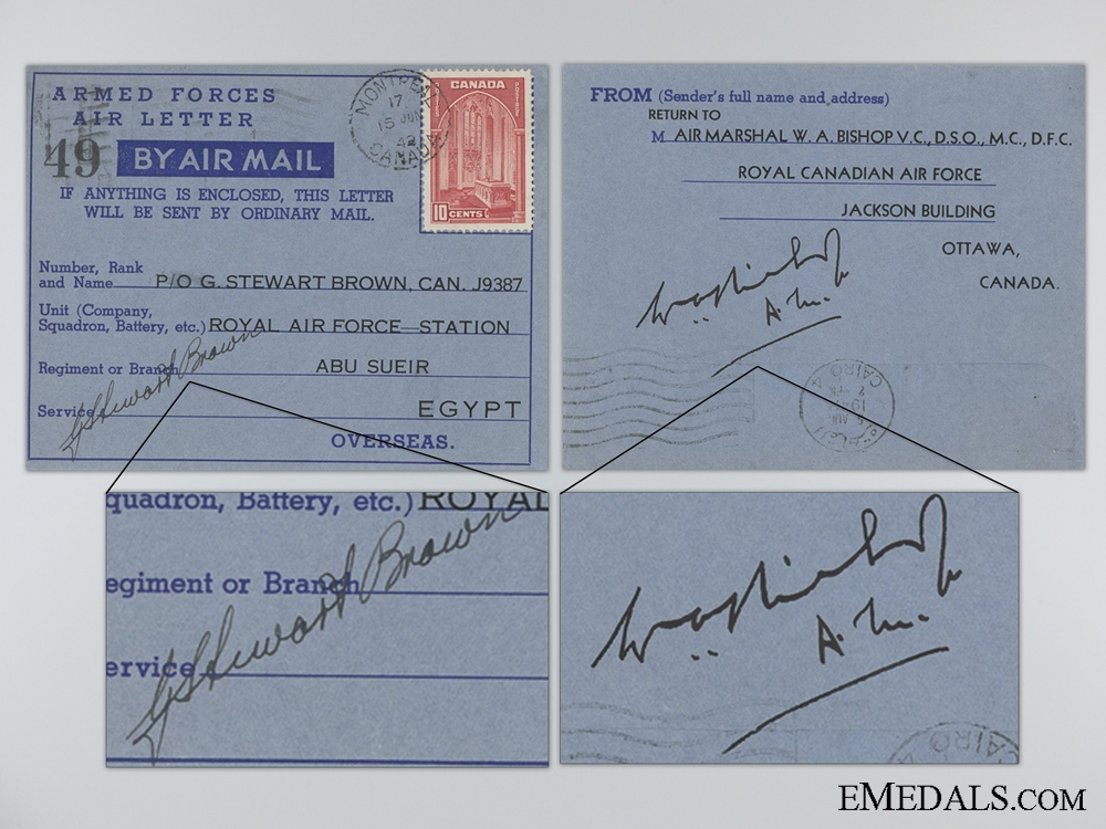 eMedals-A 1942 Signature of Air Marshal W.A. Bishop V.C. D.S.O. M.C. D.F.C