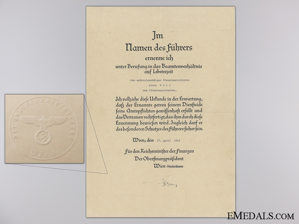 eMedals-A 1943 Official Appointment Certificate for Finance