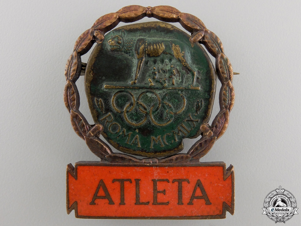 eMedals-Italy. A Summer Olympic Athlete's Badge, c.1960