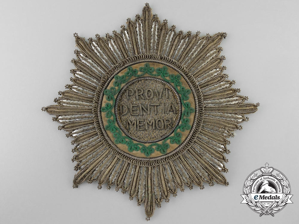 eMedals-A Rare 1820-30 Saxon Royal House Order of the Rue Crown; Breast Star