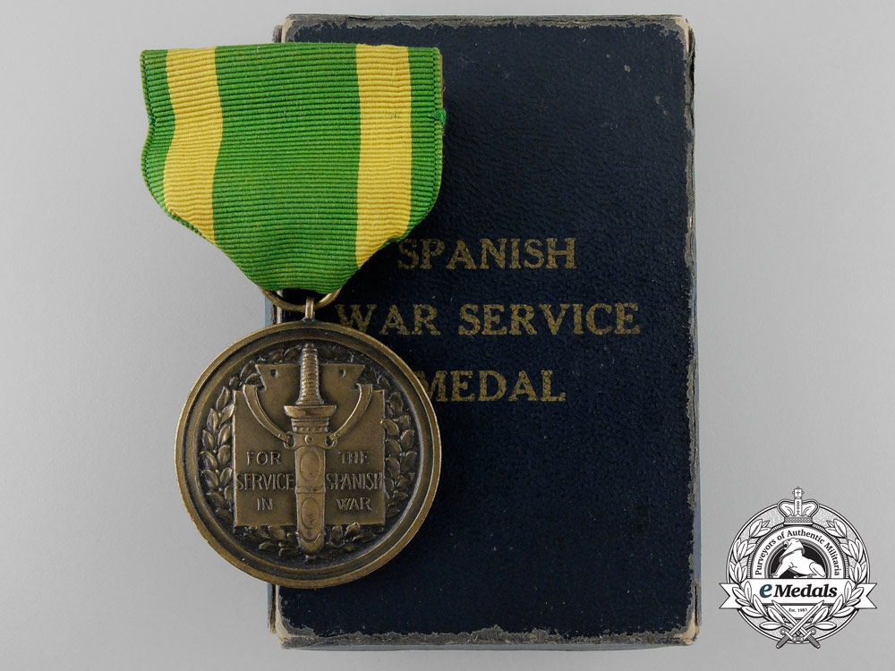 eMedals-An American Army Spanish War Service Medal with Box of Issue