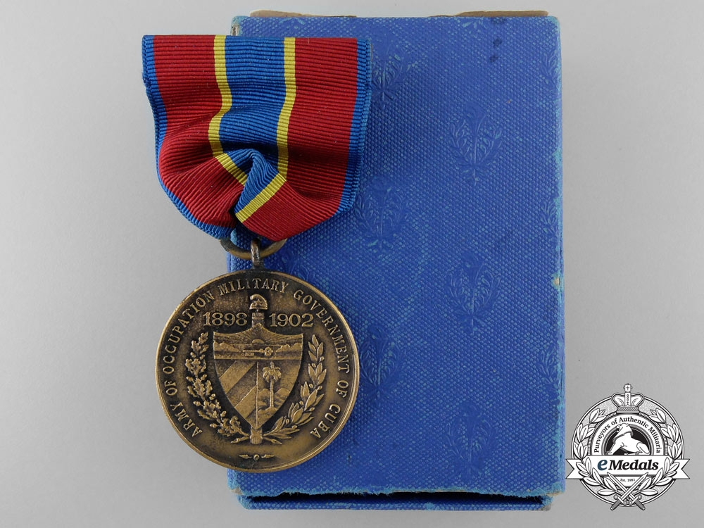 eMedals-An American Army of Cuban Occupation Medal 1898-1902 with Box of Issue