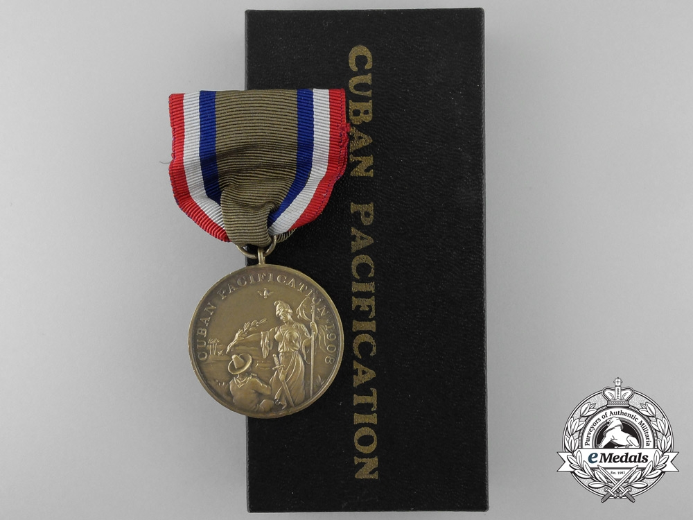 eMedals-An American Navy Cuban Pacification Medal 1908 with Box of Issue