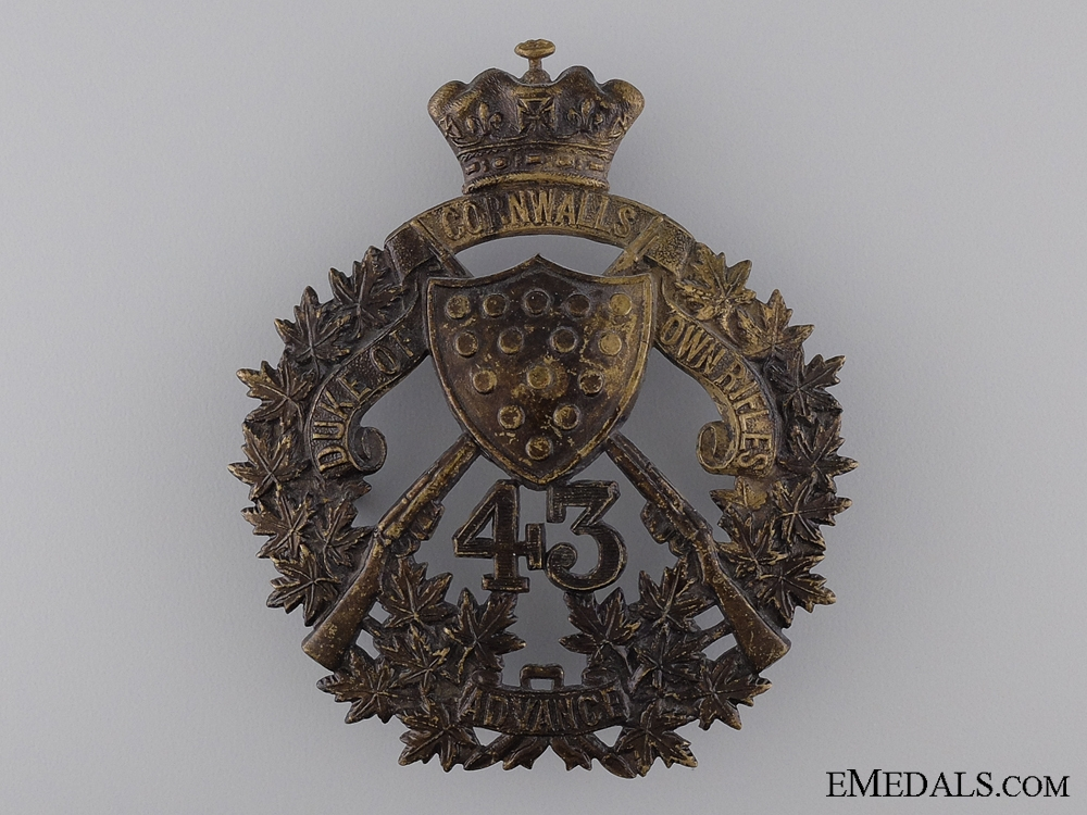 eMedals-A 43rd The Duke of Cornwall's Own Rifles Helmet Plate