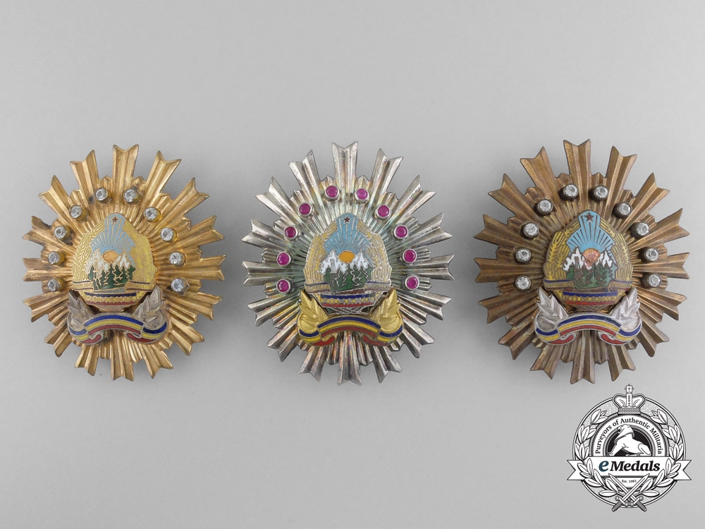 eMedals-A Complete Set of Romanian Securitata Orders RSR 1st, 2nd, and 3rd Classes