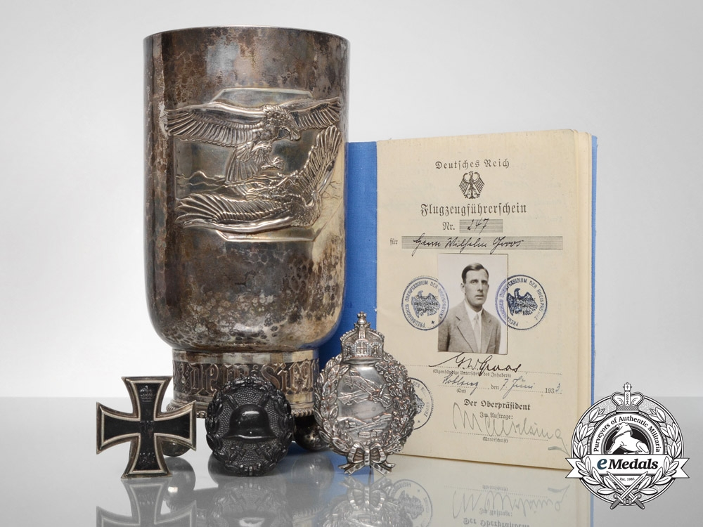 """eMedals-An Honour Goblet Group to Leutnant Gisbert Groos of von Richthofen's """"Flying Circus"""""""