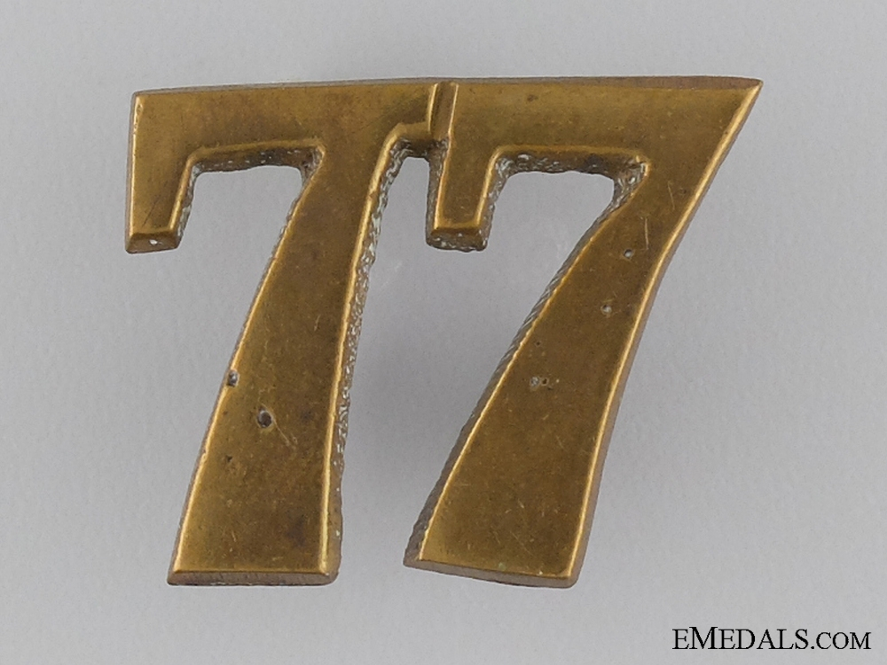 eMedals-A 77th Canadian Militia Regimental Numeral c.1870