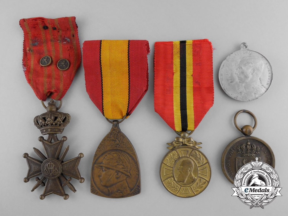 eMedals-Five First War Period Belgian Medals & Awards