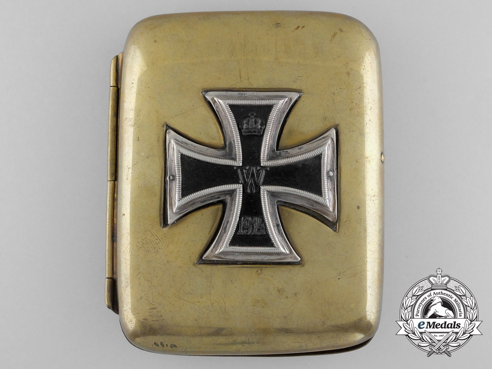 eMedals-A First War German Cigarette Case with Iron Cross 1914