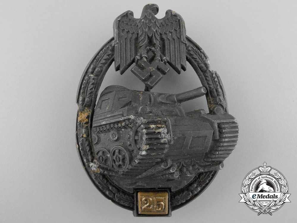 eMedals-Germany, Heer. A Ground Recovered Tank Badge, Special Grade 25 by Gustav Brehmer