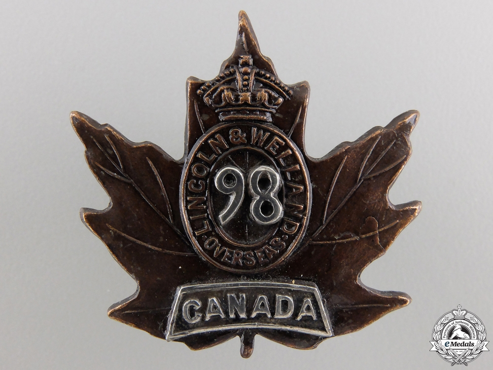eMedals-A 98th Canadian Infantry Battalion Officer's Collar Badge