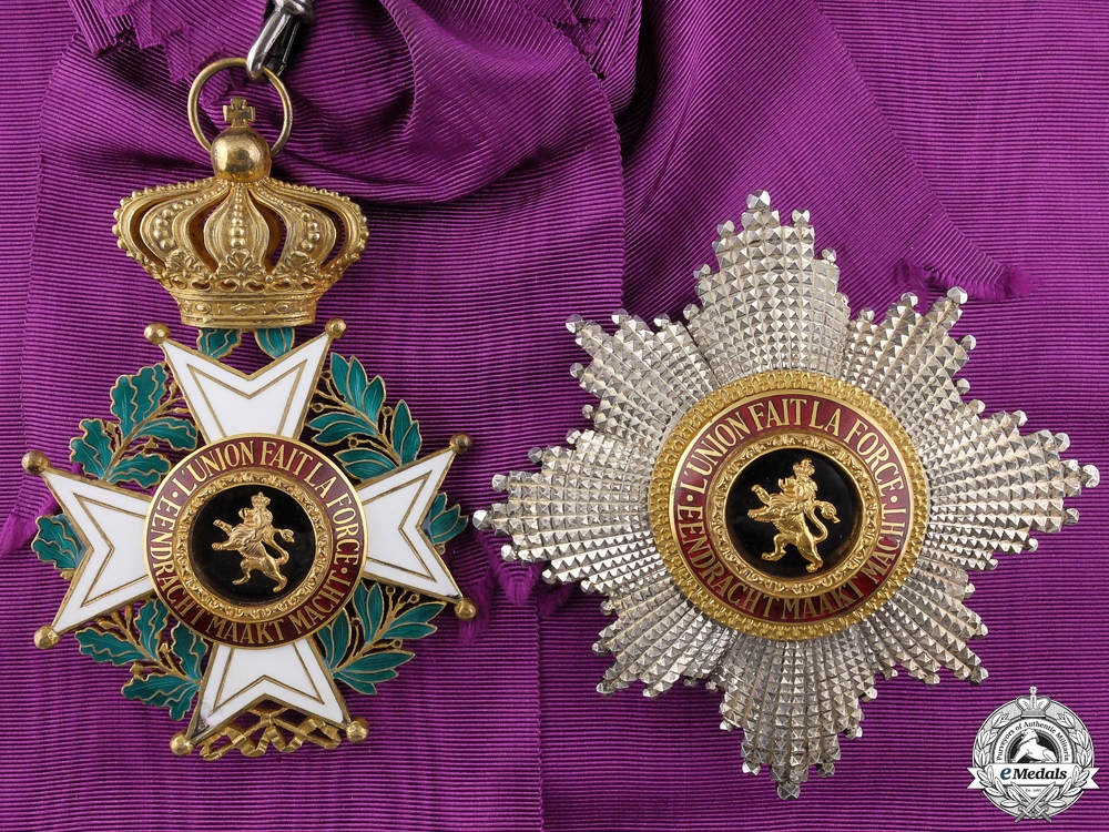 eMedals-A Belgian Order of Leopold I;  Grand Cross set of insignia by P. De Greef,