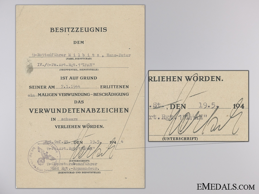 eMedals-A Black Grade Wound Badge Document to the 1st Waffen-SS