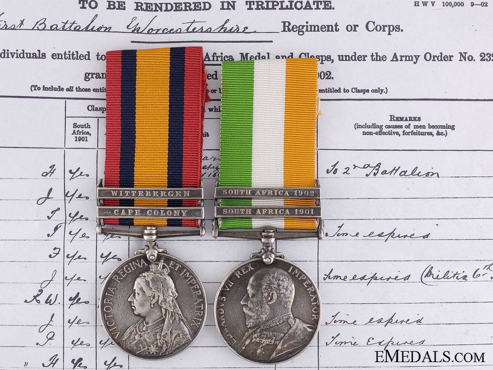 eMedals-A Boer War Pair to the Worcestershire Regiment