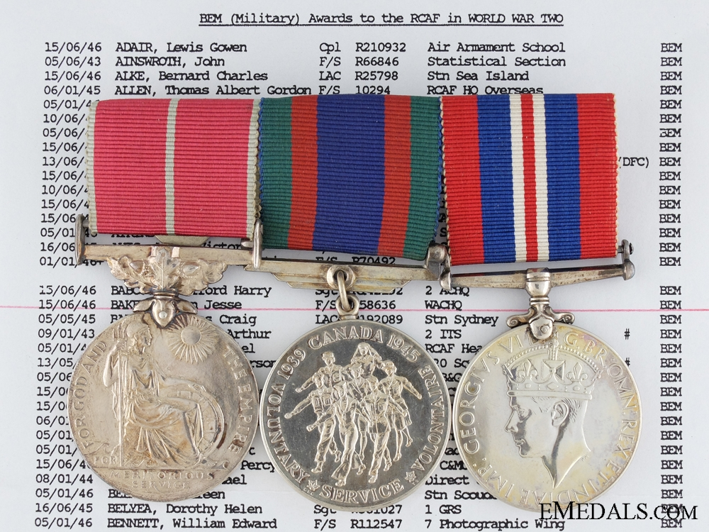 eMedals-A British Empire Medal Group to the Royal Canadian Air Force