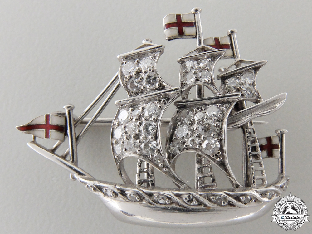 eMedals-A British Royal Navy Ship Pin in Platinum & Diamonds