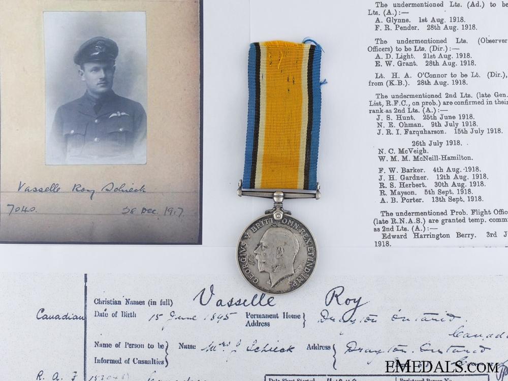 eMedals-A British War Medal to Canadian 2/Lieut. Schieck RAF