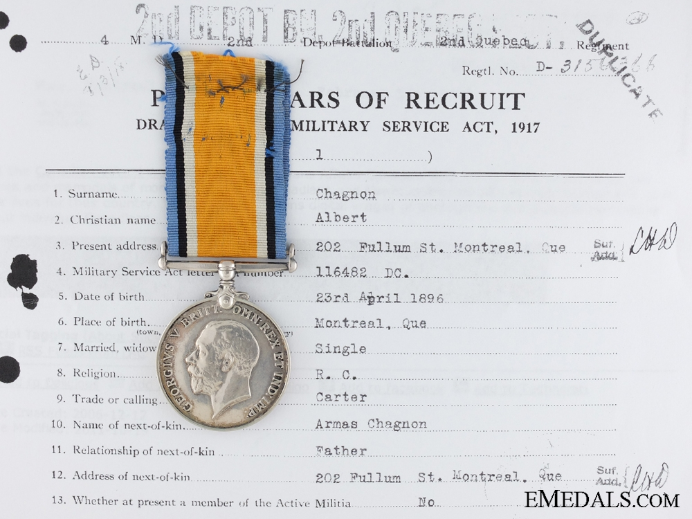 eMedals-A British War Medal to the Quebec Regiment CEF