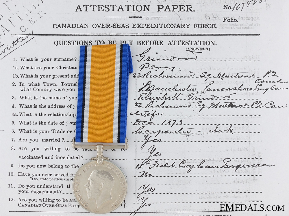 eMedals-A British War Medal to the Canadian Pioneer Battalion CEF
