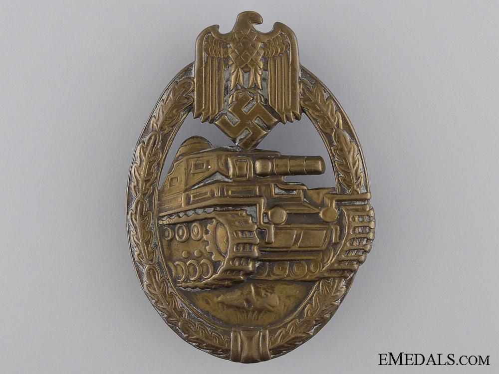 eMedals-An Early Bronze Grade Tank Badge; Unmarked