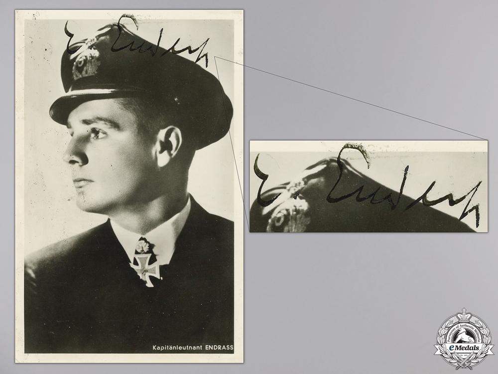 eMedals-A War Time, c.1941 Signed Kreigsmarine Knight's Cross Winner Photo; Endrass